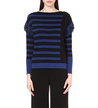 Karen Millen Fringe Trimmed Striped Cotton Jumper Multi Coloured