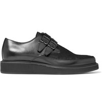 Lanvin Buckled Calf Hair Panelled Leather Derby Shoes Black