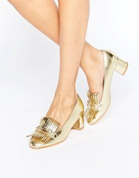 Truffle Collection Fringe Mid Heel Loafer Gold Pu