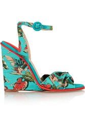 Paul Andrew Wisteria Floral Print Canvas Wedge Sandals Blue