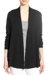 Women's Eileen Fisher Lightweight Silk And Organic Cotton Straight Long Cardigan Black