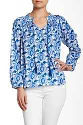 Porridge Long Sleeve Peasant Blouse Blue