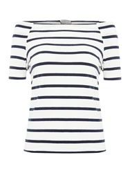 Vero Moda 1 4 Sleeve Off The Shoulder Top Navy Stripe