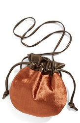 Cartel Drawstring Crossbody Pouch Metallic Copper Bronze