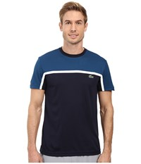 Lacoste Sport Short Sleeve Ultra Dry Color Block Yachting Blue Navy Blue White Men's T Shirt Black