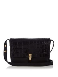 Elizabeth And James Cynnie Crocodile Effect Leather Shoulder Bag Black