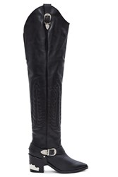 Toga Pulla Thigh High Western Boots Black Leather