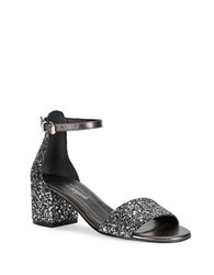 Free People Marigold Open Toe Glitter Sandals Black