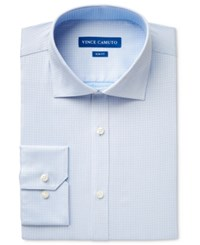 Vince Camuto Men's Slim Fit Blue Houndstooth Dobby Dress Shirt