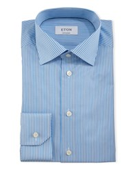Eton Contemporary Fit Striped Dress Shirt Turquoise Women's
