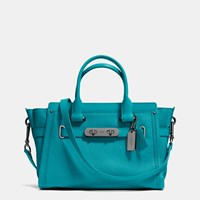 Coach Swagger 27 In Pebble Leather Dark Gunmetal Turquoise
