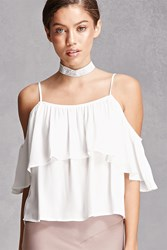 Forever 21 Open Shoulder Flounce Cami White