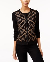 Charter Club Sequined Plaid Cardigan Only At Macy's Salty Nut Combo