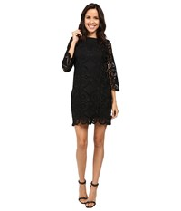 Laundry By Shelli Segal 3 4 Sleeve Lace Dress W Scallops Black Women's Dress