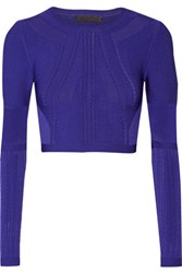 Cushnie Et Ochs Cropped Textured Stretch Knit Top Indigo