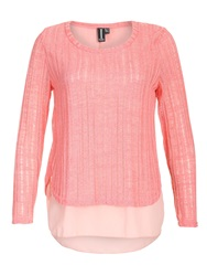 Izabel London Contrast Dipped Hem Top Pink