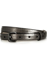 Marc By Marc Jacobs Metallic Textured Leather Belt Gray