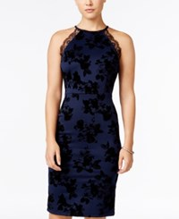 Trixxi Juniors' Flocked Floral Lace Trim Bodycon Dress Navy Black