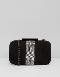 Lotus Box Clutch Bag Black Microfibre Pew