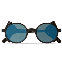 L.G.R Leather Trimmed Sunglasses Blue