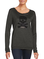 Betsey Johnson Performance Leopard Solid Long Sleeve Pullover Charcoal Grey