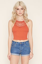 Forever 21 Cutout Crochet Paneled Cami