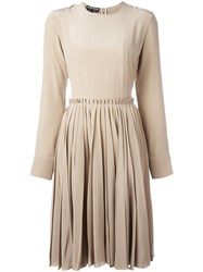 Rochas Longsleeved Pleated Dress Nude And Neutrals