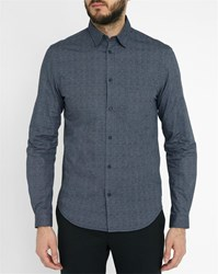 Ikks Navy Micro Paisley Pattern Double Face Shirt Blue