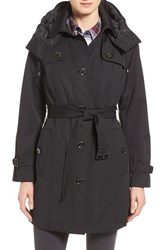 London Fog Petite Women's Single Breasted Trench Coat Black