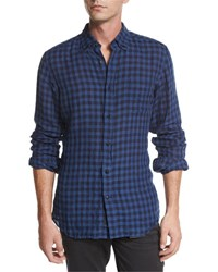 Belstaff Stan Check Long Sleeve Shirt Navy Black