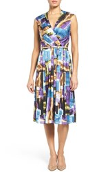 Ellen Tracy Women's Belted Brushstroke Print Satin Fit And Flare Dress Painted Panel