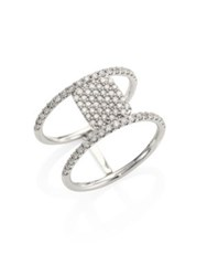 Meira T Pave Diamond And 14K White Gold Double Band Ring