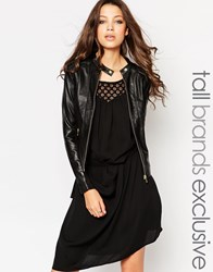 Y.A.S Tall Leather Jacket Black