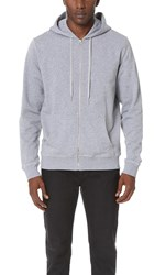Sunspel Long Sleeve Zip Hoodie Grey Melange