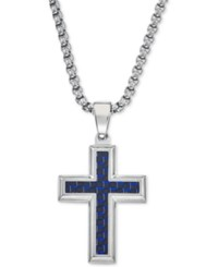 Esquire Men's Jewelry Pendant Necklace In Navy Blue Carbon Fiber Cross Tungsten Carbide And Stainless Steel First At Macy's