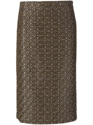 N 21 N.21 Geometric Jacquard Midi Skirt Brown