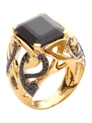 Biba Gold And Black Diamond Spinel Stone Ring Black
