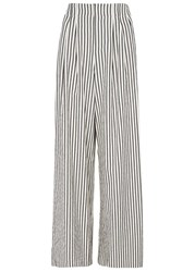 Alice Olivia Eloise Striped Wide Leg Cotton Trousers White And Black