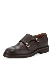 Leather Monk Strap Wing Tip Loafer Brown Brunello Cucinelli