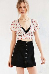 Cooperative Calico Cropped Petal Sleeve Blouse Birch Roses