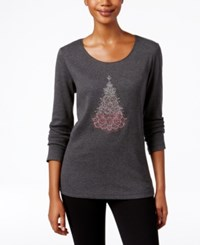 Karen Scott Holiday Tree Graphic Top Only At Macy's Charcoal Heather
