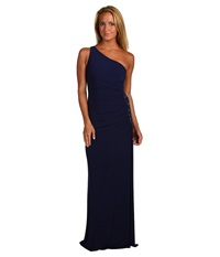 Laundry By Shelli Segal One Shoulder Sleeveless Gown W Side Sequins Midnight Women's Dress Navy