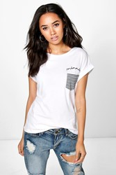 Boohoo Jesca Stripe Pocket Slogan Tee White