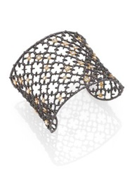 Alexis Bittar Elements Muse D'ore Crystal Two Tone Studded Lace Cuff Bracelet Silver
