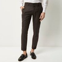River Island Mens Chocolate Skinny Cropped Trousers