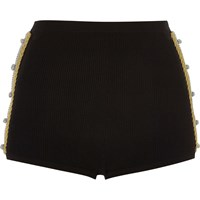River Island Womens Black Knit Hot Pants With Gold Twist Detail