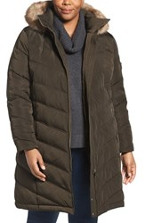 Calvin Klein Plus Size Women's Water Resistant Puffer Coat With Faux Fur Trim