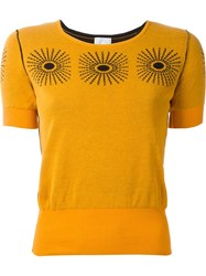 Eggs Geometric Design Knit Top Yellow And Orange
