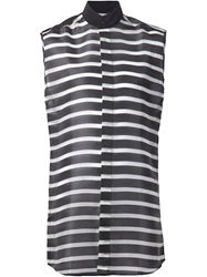 Comeforbreakfast' Sleeveless Striped Long Shirt
