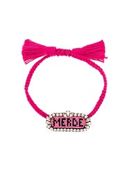 Shourouk 'Merde ' Beaded Bracelet Pink And Purple